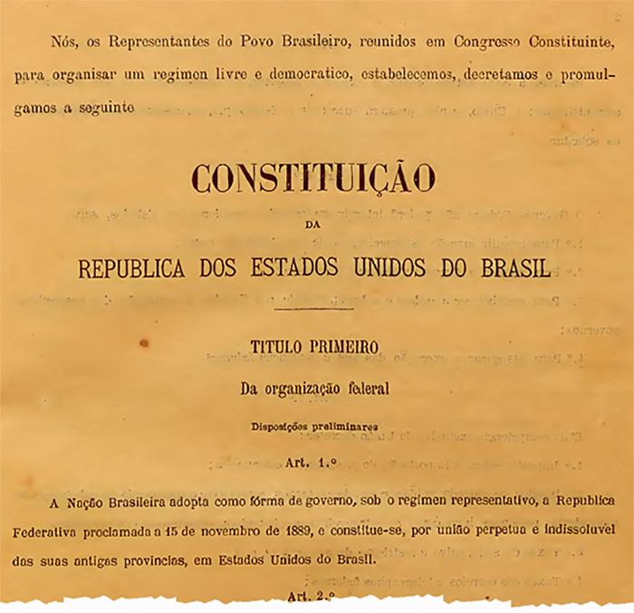 trecho inicial da Constituição de 1891