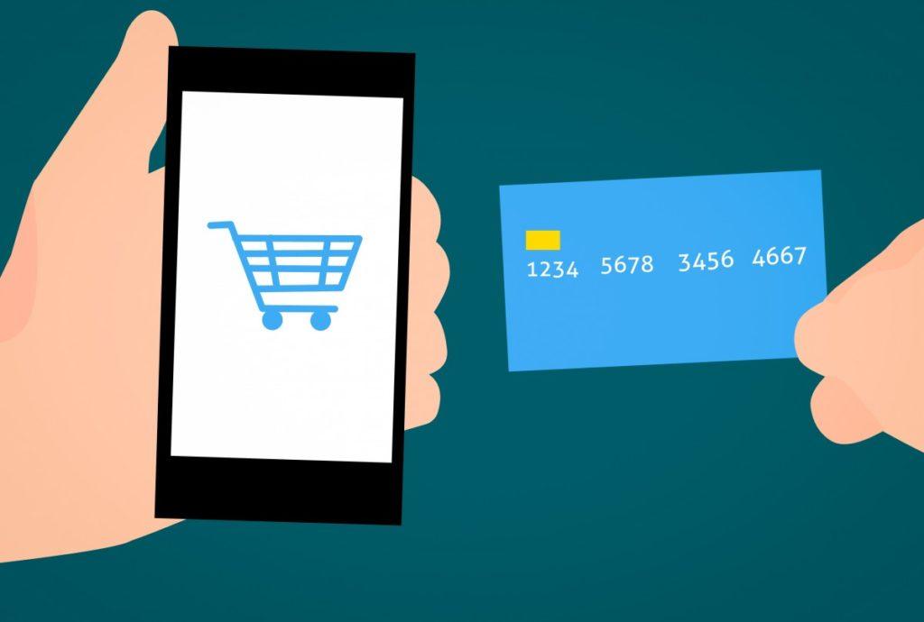 imagem mostrando um cartão de crédito se aproximand de uma máquina de cartão